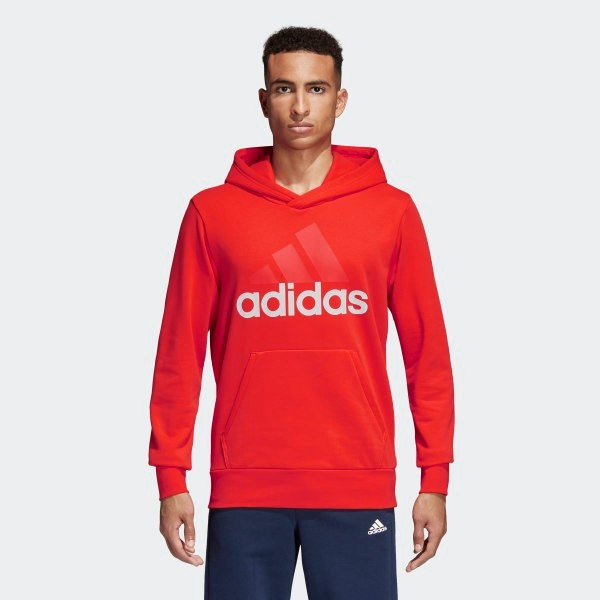 Adidas Essentials Linear Pullover Hoodie - Red